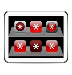 Asterisk red app icons vector image