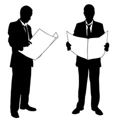 businessmen reading newspapers vector image