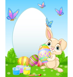 Easter Bunny painting Easter Eggs vector image