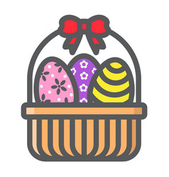 easter eggs in basket filled outline icon vector image vector image