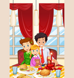 family having meal on dining table vector image vector image