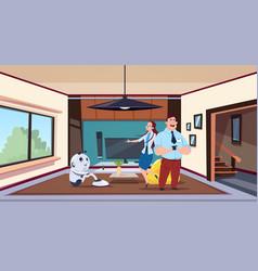 man and woman looking at robot housekeeper vector image