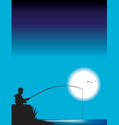 Man fishing vector