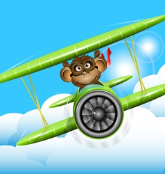 monkey on a plane vector image vector image