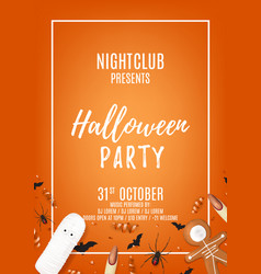 orange halloween party flyer with sweets vector image