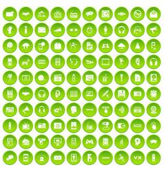 100 audio icons set green circle vector image