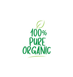 100 pure organic green word text with leaf icon vector