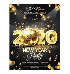 2020 new year party golden disco ball vector image