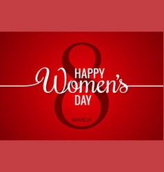 8 march banner womens day line on red background vector