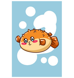 A little happy puffer fish cartoon vector