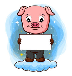 A pig stand on cloud and holding blank paper vector