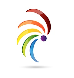 Abstract icon spiral multi color vector