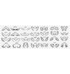 Angels wings and halo doodle set vector