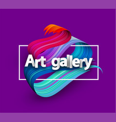 Art gallery poster with colorful brush stroke vector