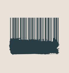 barcode on grunge brushstroke vector image