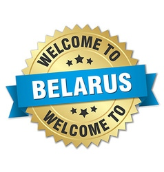 Belarus 3d gold badge with blue ribbon vector