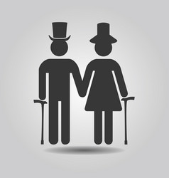 Black senior male and female couple symbol icons vector