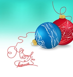 Blue and red christmas ornaments on bright holiday vector