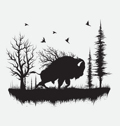 Buffalo walking in the forest vector