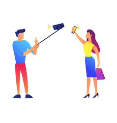 businessman and businesswoman taking selfie vector image