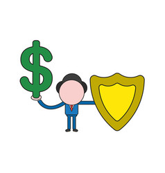 Businessman character holding dollar and guard vector