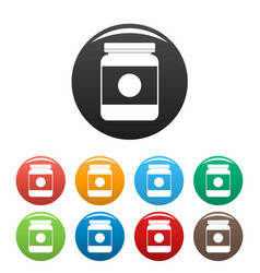 butter jar icons set color vector image