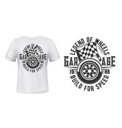 car wheel racing checkered flag t-shirt print vector image