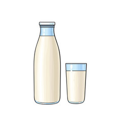 cartoon glass bottle and cup of milk vector image vector image