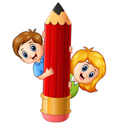 cartoon kids holding pencil vector image