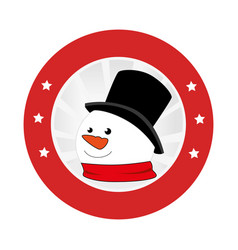 Circular emblem with snowman face vector