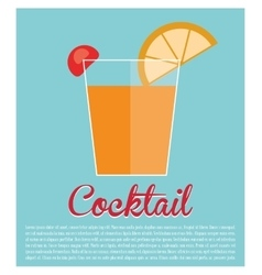 Cocktail alcohol lime cherry blue background vector