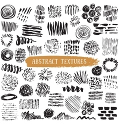 Collection black ink abstract textures vector
