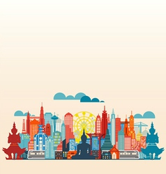 Colorful panorama asia city and building vector