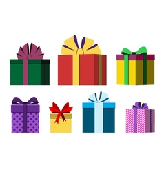 Colorful wrapped gift boxes vector
