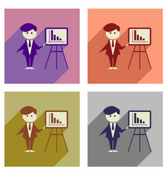 concept of flat icons with long shadow businessman vector image