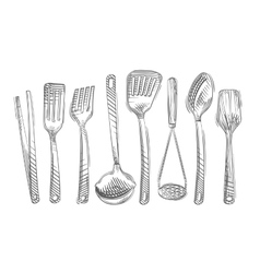Cooking Hand-drawn set of kitchen tools vector