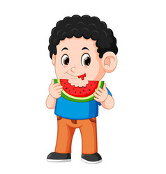 cute little boy is eating watermelon vector image
