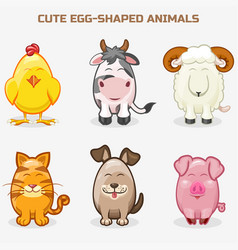 Cute pets animals in one set simple egg-shaped vector