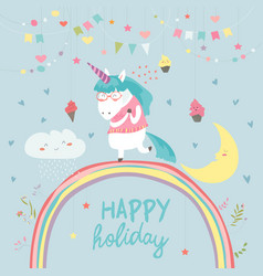 cute unicorn walking on the rainbow vector image