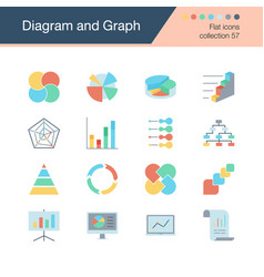diagram and graph icons flat design collection 57 vector image
