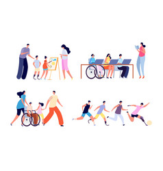 Disabled children disability activity young girl vector