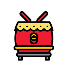 Drum chinese lunar new year filled icon vector