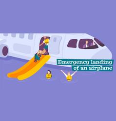 Emergency landing of airplane flat background vector