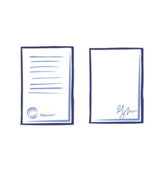 Empty sheet of ppaper with signature and page vector