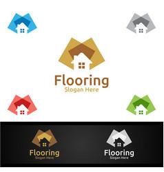 Flooring logo for parquet wooden or vinyl vector