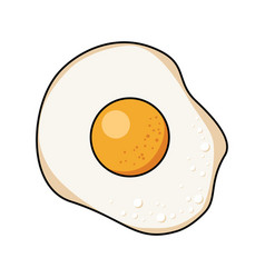 Fried egg on white background vector
