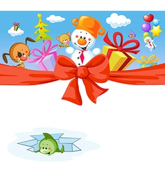 funny christmas design with snowman and animals vector image