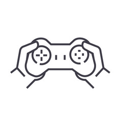 gamepad in handsplaying game line icon vector image