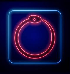 Glowing neon magic symbol ouroboros icon vector