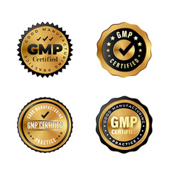 Gmp certified luxury gold badges industrial vector